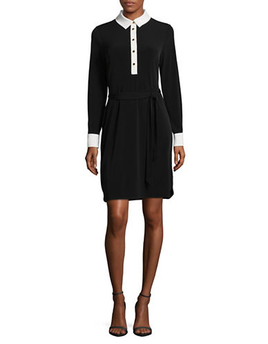 Ivanka Trump Contrast Collar Jersey Dress with Waist Tie-BLACK-Large