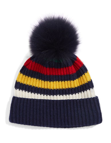 HudsonS Bay Company Fox Fur Pom Pom Tuque-NAVY MULTI-One Size