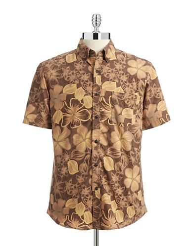 Hudson North Printed Short Sleeve Shirt-CHESTNUT-Small