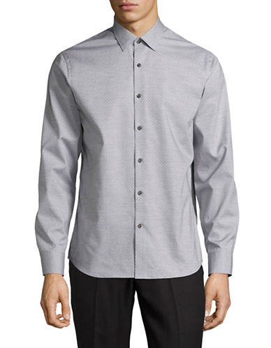 Black Brown 1826 Easy-Care Dot Sport Shirt-GREY-XXX-Large