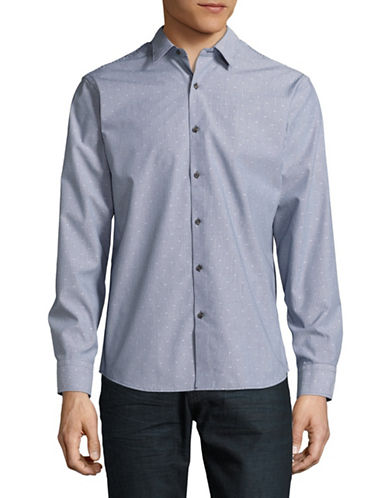 Black Brown 1826 Easy-Care Dot Sport Shirt-BLUE-XX-Large