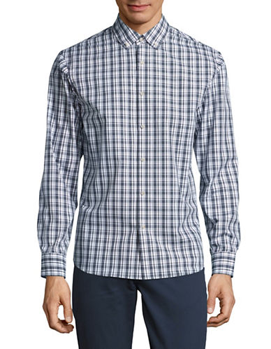Black Brown 1826 Easy-Care Plaid Shirt-LIGHT BLUE-X-Large