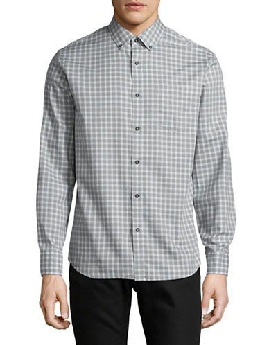 Black Brown 1826 Plaid Sport Shirt-GREY-Medium
