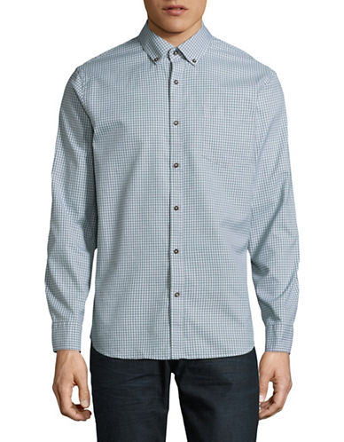 Black Brown 1826 Plaid Sport Shirt-LIGHT GREEN-Large