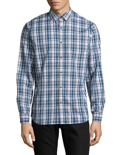 Black Brown 1826 Plaid Sport Shirt-OLIVE GREEN-Large