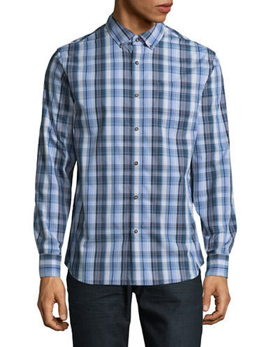 Black Brown 1826 Plaid Sport Shirt-LIGHT BLUE-XX-Large