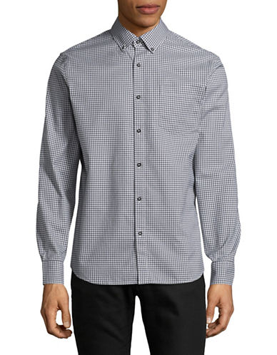 Black Brown 1826 Plaid Sport Shirt-INDIGO-Large