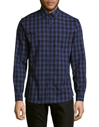 Black Brown 1826 Plaid Sport Shirt-DARK BLUE-XXX-Large