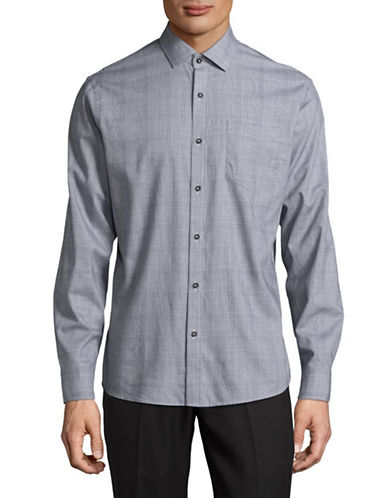 Black Brown 1826 Houndstooth Plaid Sport Shirt-GREY-XXX-Large