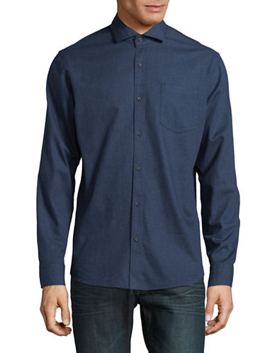 Black Brown 1826 Heathered Cotton Sport Shirt-BLUE-XX-Large