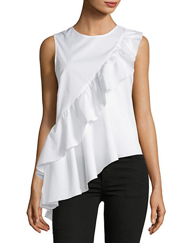 Lord & Taylor Olivia Ruffle Shell Top-WHITE-X-Large