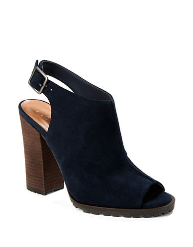 Image of 424 Fifth Deanna Suede Slingback Shooties-NAVY-7