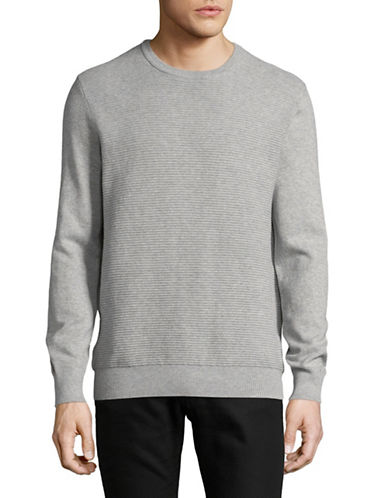 Black Brown 1826 Knitted Crew Neck Sweater-GREY-Large