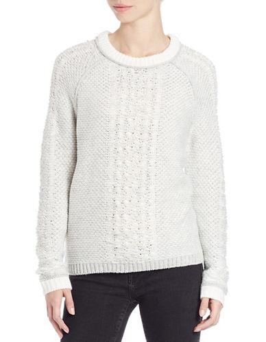 Lord & Taylor Raglan-Sleeve Jacquard Sweater-GREY-Large 87795794_GREY_Large