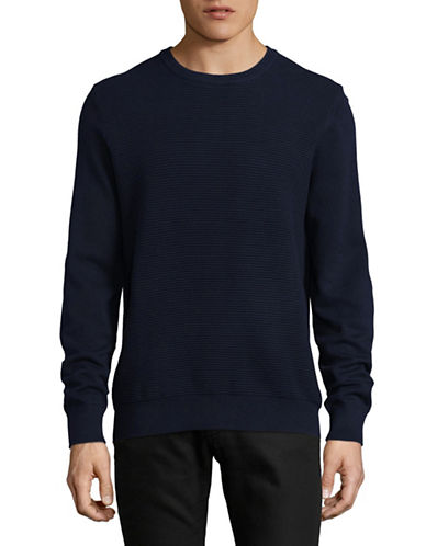 Black Brown 1826 Knitted Crew Neck Sweater-BLUE-X-Large