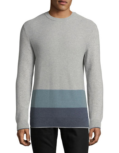 Black Brown 1826 Textured Colourblock Sweater-GREY-X-Large