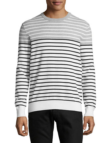 Black Brown 1826 Colourblock Striped Sweater-GREY-Medium