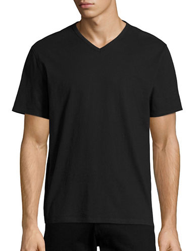Black Brown 1826 Supersoft Jersey Short Sleeve V-neck T-Shirt-BLACK-Small
