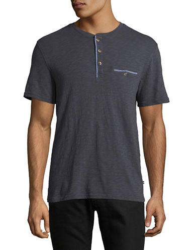 Black Brown 1826 Slub Henley T-Shirt-BLUE-Small