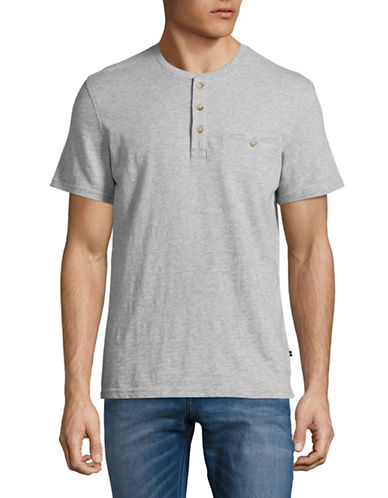 Black Brown 1826 Slub Henley T-Shirt-LIGHT GREY-X-Large