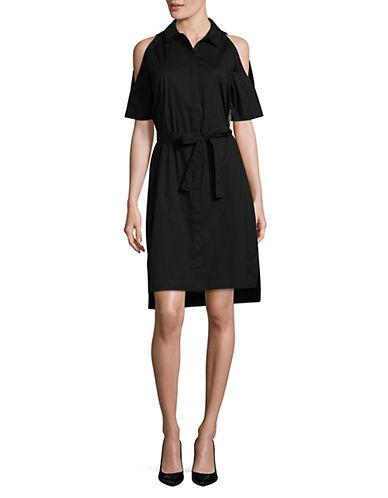 Lord & Taylor Cold Shoulder Shirt Dress-BLACK-Large