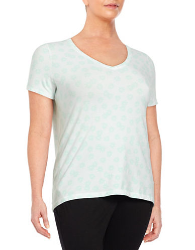 Lord & Taylor Plus Darling Daisy V-Neck T-Shirt-JADE-0X