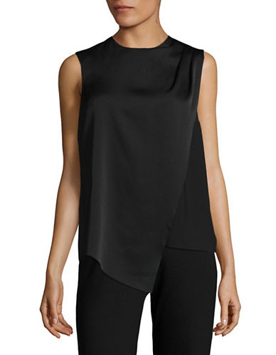 Lord & Taylor Draped Pleat Sleeveless Top-BLACK-Large 89242501_BLACK_Large