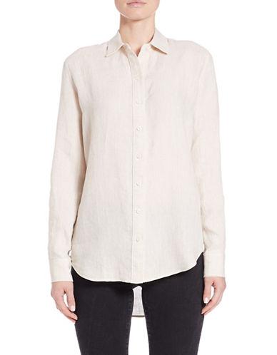 Lord & Taylor Petite Petite Linen Hi-Low Dress Shirt-NATURAL-Petite Large plus size,  plus size fashion plus size appare