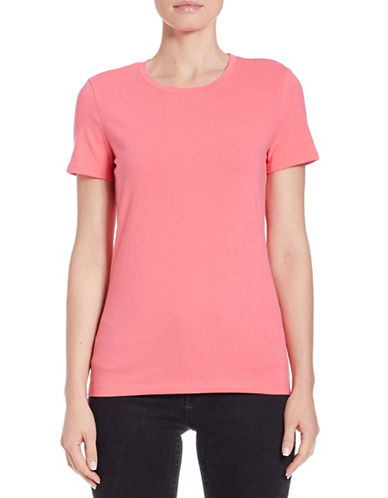 Lord & Taylor Classic Cotton Stretch T-Shirt-PINK-X-Small 88025090_PINK_X-Small