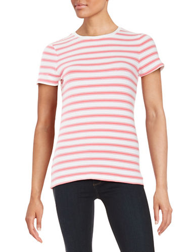 Lord & Taylor Striped Crew Neck T-Shirt-PINK-Small 88025111_PINK_Small