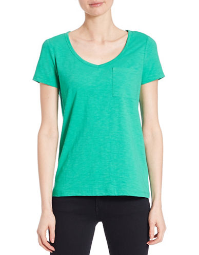 Lord & Taylor Solid V-Neck Tee-GREEN-Large 88094576_GREEN_Large