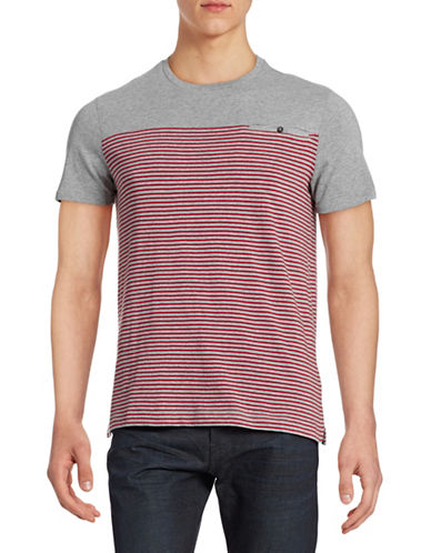 Hudson North Mariner Stripe Cotton T-Shirt-RED-X-Large 88178125_RED_X-Large