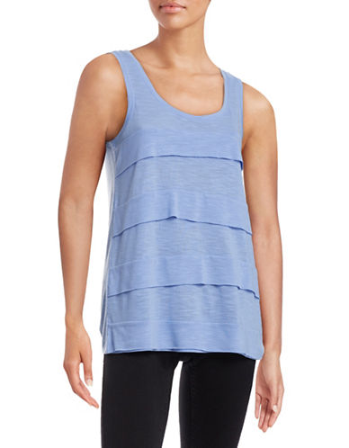 Lord & Taylor Ruffled Tier Tank Top-BLUE-X-Small