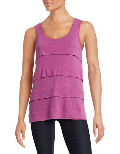 Lord & Taylor Ruffled Tier Tank Top-PURPLE-X-Small