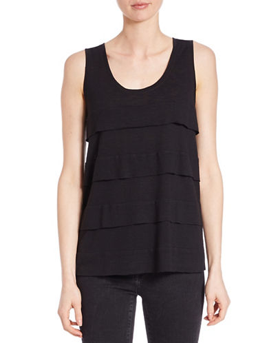 Lord & Taylor Ruffled Tier Tank Top-BLACK-X-Small 88067352_BLACK_X-Small