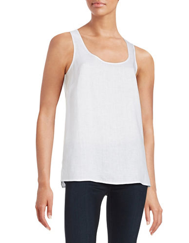 Lord & Taylor Linen Keyhole Tank-WHITE-X-Small 88130406_WHITE_X-Small
