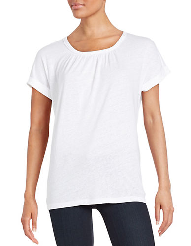 Lord & Taylor Pintucked Tee-WHITE-Large 88167627_WHITE_Large