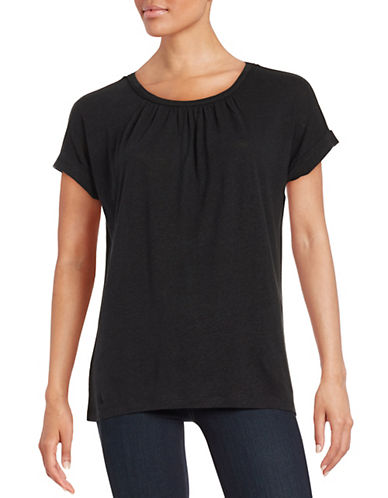 Lord & Taylor Pintucked Tee-BLACK-X-Small 88167619_BLACK_X-Small