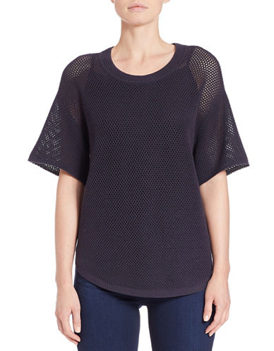 Lord & Taylor Mesh-Sleeved Slub Sweater-DEEP NAVY-Medium