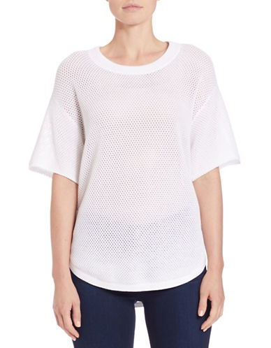 Lord & Taylor Mesh-Sleeved Slub Sweater-WHITE-X-Large