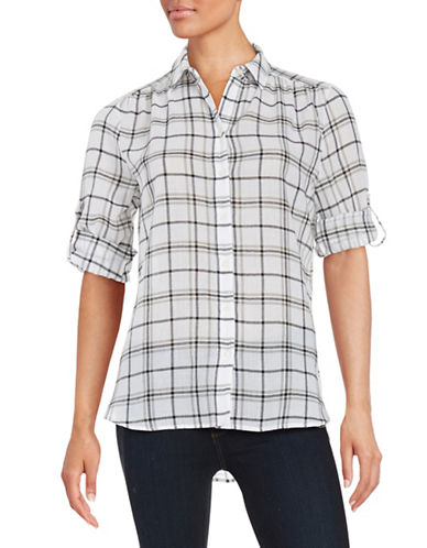 Lord & Taylor Petite Petite Cotton Plaid Sport Shirt-WHITE MULTI-Petite Medium