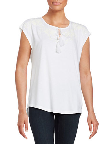 Lord & Taylor Embroidered Blouse-WHITE-X-Small 88265717_WHITE_X-Small