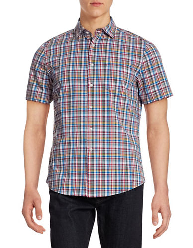 Hudson North Short Sleeve Plaid Shirt-APRICOT TAN-Small