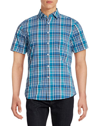 Hudson North Short Sleeve Plaid Shirt-BLUE YONDER-Small