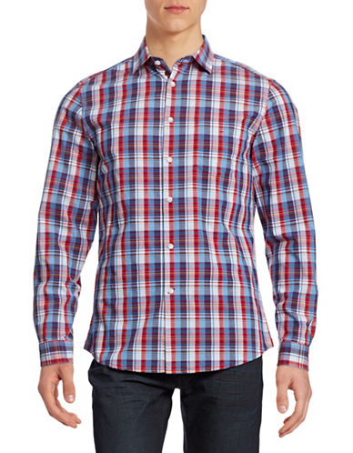 Hudson North Plaid Sport Shirt-BIKING RED-Small