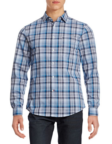 Hudson North Plaid Sport Shirt-COASTAL FJORD-Large