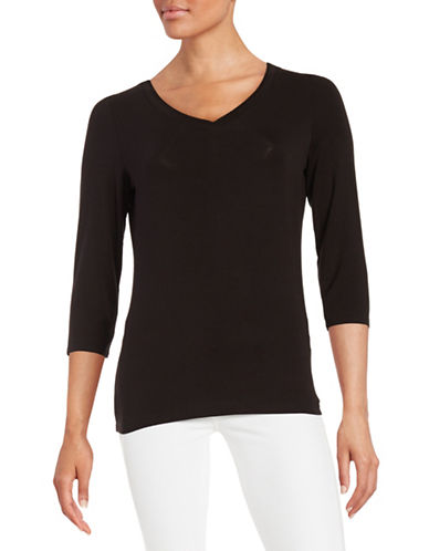 Lord & Taylor V-Neck T-Shirt-BLACK-X-Small 88307183_BLACK_X-Small