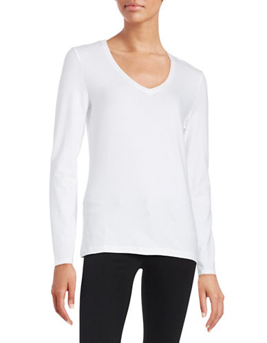 Lord & Taylor V-Neck Top-WHITE-X-Small 88295956_WHITE_X-Small