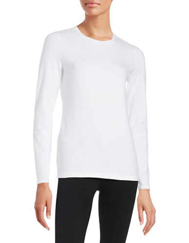 Lord & Taylor Compact Long Sleeve Top-WHITE-Small 88295982_WHITE_Small