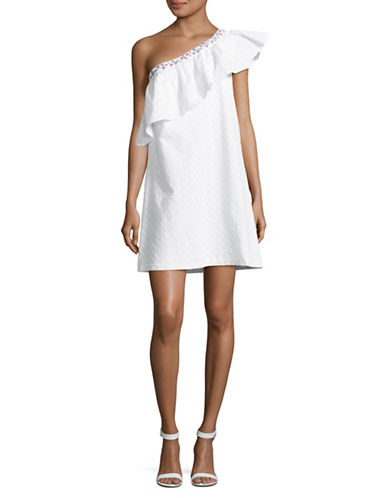 Highline Collective One Shoulder Ruffle Dress-WHITE-X-Large